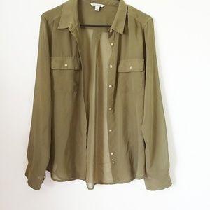 American Eagle sheer long sleeve blouse large